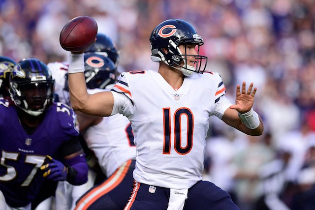 BALTIMORE, MD - OCTOBER 15: Quarterback Mitchell Trubisky #10 of the Chicago Bears throws in the fourth quarter against the Baltimore Ravens at M&T Bank Stadium on October 15, 2017 in Baltimore, Maryland. (Photo by Patrick McDermott/Getty Images)