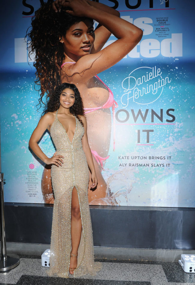 Model Danielle Herrington attends Sports Illustrated Swimsuit 2018 Launch Event at Magic Hour at Moxy Times Square on February 14, 2018 in New York City. (Photo by Craig Barritt/Getty Images for Sports Illustrated)