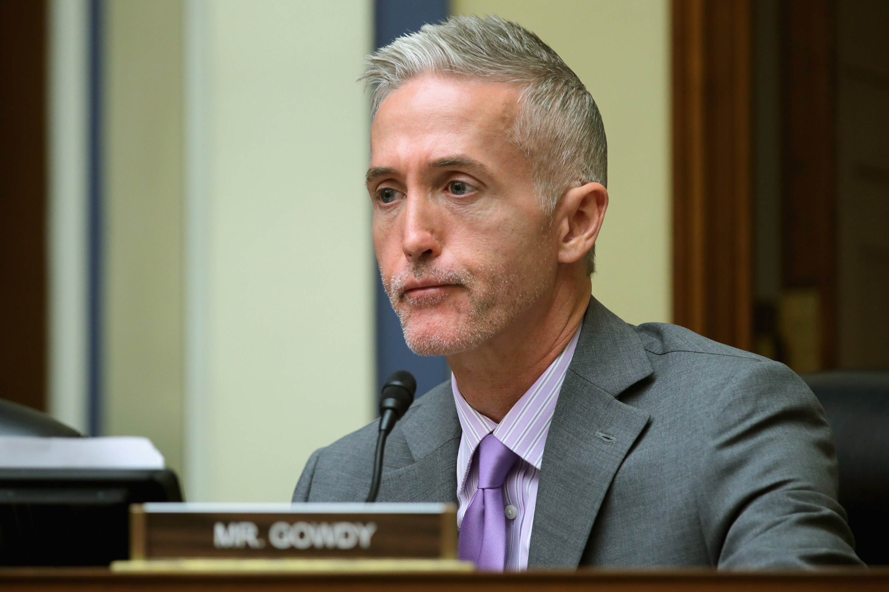 WASHINGTON, DC - NOVEMBER 03: The House Oversight and Government Reform Committee's Select Committee on Benghazi Chairman Trey Gowdy (R-SC) sports the beginnings of a beard as he questions witnesses about lapses in TSA screening in the Rayburn House Office Building on Capitol Hill November 3, 2015 in Washington, DC. Leaked to the news media earlier this year, a TSA inspector general's report found that investigators were able to slip through airport security with weapons and phony bombs more than 95 percent of the time at different airports across the country, constituting 'significant breeches,' according to Homeland Security Inspector General John Roth. (Photo by Chip Somodevilla/Getty Images)