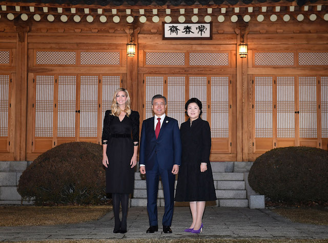 SEOUL, SOUTH KOREA - FEBRUARY 23: South Korean President Moon Jae-In (C), his wife Kim Jung-Sook (R) and Ivanka Trump (L) pose for photograph during their dinner at the Presidential Blue House on February 23, 2018 in Seoul, South Korea. Ivanka Trump is on a four-day visit to South Korea to attend the closing ceremony of the Pyeongchang Winter Olympics and to meet South Korean President Moon. (Photo by Kim Min-Hee-Pool/Getty Images)