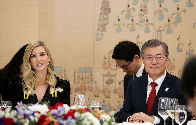 SEOUL, SOUTH KOREA - FEBRUARY 23: In this handout image provided by the South Korean Presidential Blue House, South Korean President Moon Jae-In (R) talks with Ivanka Trump (L) during their dinner at the Presidential Blue House on February 23, 2018 in Seoul, South Korea. Ivanka Trump is on a four-day visit to South Korea to attend the closing ceremony of the Pyeongchang Winter Olympics and to meet South Korean President Moon. (Photo by South Korean Presidential Blue House via Getty Images)