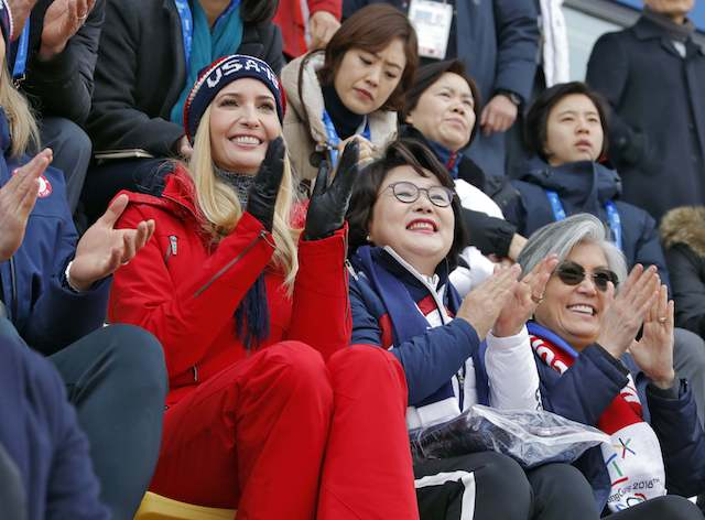 PYEONGCHANG, CHINA - FEBRUARY 24: Ivanka Trump, U.S. President Trump's daughter and senior White House adviser, cheers during the Men's Big Air Finals of the PyeongChang 2018 Winter Olympic Games at the Alpensia Ski Jumping Centre on February 24, 2018 in Gangneung, Pyeongchang, South Korea. (Photo by Eric Gaillard-Pool/Getty Images)