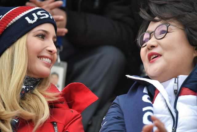 U.S. President's daughter and senior White House adviser, Ivanka Trump and Korean First Lady Kim Jung-sook (R) attend the final of the men's snowboard big air event at the Alpensia Ski Jumping Centre during the Pyeongchang 2018 Winter Olympic Games on February 24, 2018 in Pyeongchang. / AFP PHOTO / POOL / Ed JONES (Photo credit should read ED JONES/AFP/Getty Images)