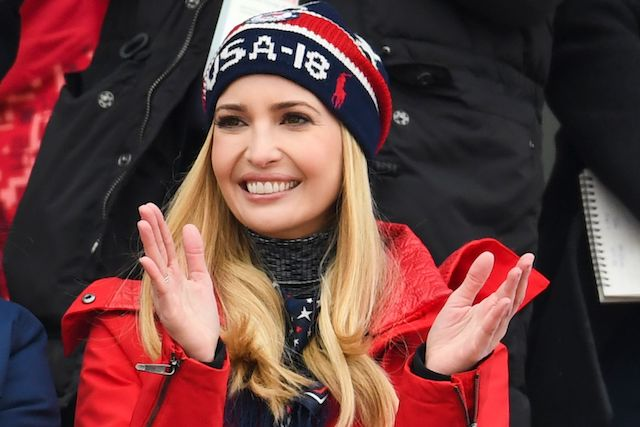Ivanka Trump reacts during the final of the men s snowboard big air event  at the Alpensia 25bb735069a