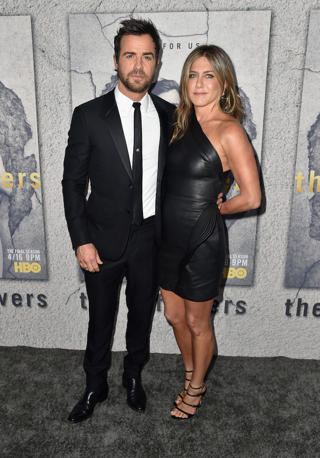 "LOS ANGELES, CA - APRIL 04: Actors Justin Theroux and Jennifer Aniston attend the premiere of HBO's ""The Leftovers"" Season 3 at Avalon Hollywood on April 4, 2017 in Los Angeles, California. (Photo by Alberto E. Rodriguez/Getty Images)"