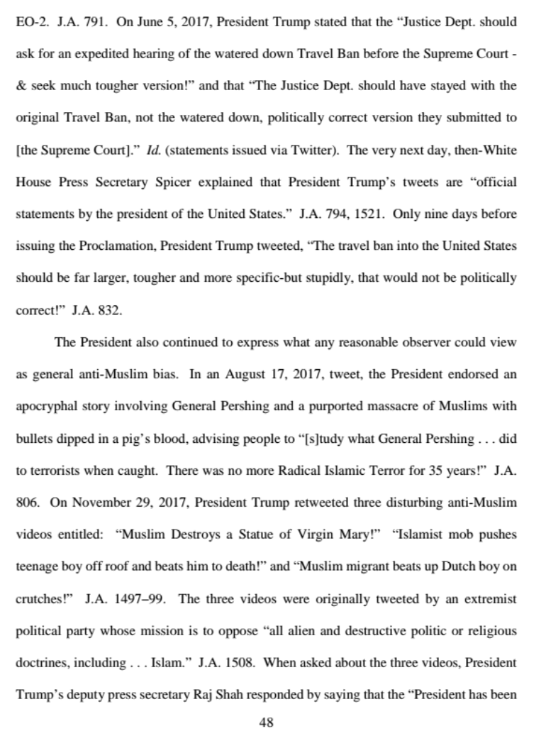 Judge Gregory cites examples of President Trump's alleged anti-Muslim bias. (Screenshot)