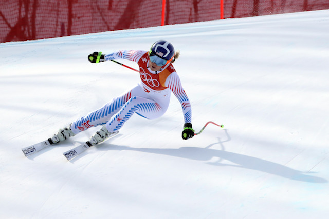 PYEONGCHANG-GUN, SOUTH KOREA - FEBRUARY 21: Lindsey Vonn of USA in action during the Alpine Skiing Women's Downhill at Jeongseon Alpine Centre on February 21, 2018 in Pyeongchang-gun, South Korea. (Photo by Christophe Pallot/Agence Zoom/Getty Images)