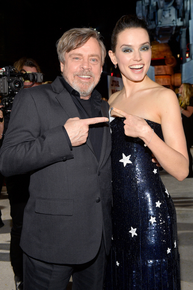 "LOS ANGELES, CA - DECEMBER 09: Mark Hamill and Daisy Ridley attend the premiere of Disney Pictures and Lucasfilm's ""Star Wars: The Last Jedi"" at The Shrine Auditorium on December 9, 2017 in Los Angeles, California. (Photo by Matt Winkelmeyer/Getty Images)"