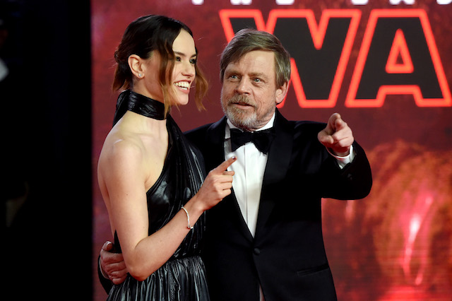 LONDON, ENGLAND - DECEMBER 12: Actors Daisy Ridley and Mark Hamill attend the European Premiere of 'Star Wars: The Last Jedi' at Royal Albert Hall on December 12, 2017 in London, England. (Photo by Stuart C. Wilson/Getty Images)