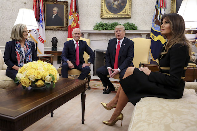 WASHINGTON, DC - FEBRUARY 23: US President Donald Trump, center right, and first lady Melania Trump, right, greet Prime Minister Malcolm Turnbull and his wife Lucy Turnbull of Australia in the Oval Office of the White House on February 23, 2018 in Washington, D.C. (Photo by Oliver Contreras-Pool/Getty Images)