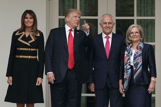 WASHINGTON, DC - FEBRUARY 23: U.S. President Donald Trump (2nd L) and first lady Melania Trump (L) welcome Australian Prime Minister Malcolm Turnbull (3rd L) and his wife Lucy Turnbull (R) during an arrival at the White House February 23, 2018 in Washington, DC. Prime Minister Turnbull is on a visit in Washington. (Photo by Alex Wong/Getty Images)
