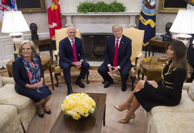 US President Donald Trump and First Lady Melania Trump (R) meet with Australian Prime Minister Malcolm Turnbull (2nd L) and his wife Lucy (L) in the Oval Office of the White House in Washington, DC, February 23, 2018. / AFP PHOTO / SAUL LOEB (Photo credit should read SAUL LOEB/AFP/Getty Images)
