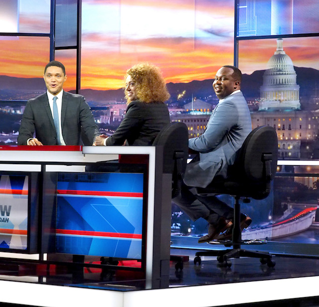 """PHILADELPHIA, PA - JULY 26: Host Trevor Noah, Contributor Michelle Wolf and Correspondent Roy Wood Jr., """"The Daily Show with Trevor Noah Presents The 2016 Democratic National Convention; Let's Not Get Crazy"""" speak from the Annenberg Center for the Performing Arts on July 26, 2016 in Philadelphia, Pennsylvania. (Photo by Paul Zimmerman/Getty Images for Comedy Central)"""
