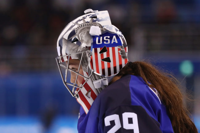A detailed view of the mask of Nicole Hensley #29 of the United States during the Women's Ice Hockey Preliminary Round- Group A game against Olympic Athletes from Russia on day four of the Pyeong Chang 2018 Winter Olympic Games at Kwandong Hockey Centre
