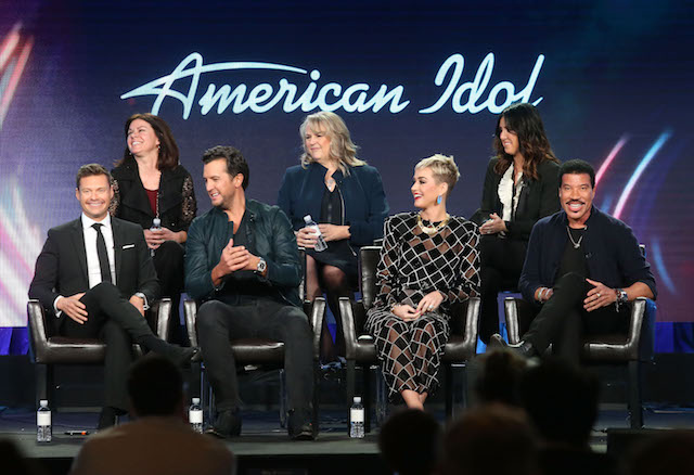 PASADENA, CA - JANUARY 08: (L-R, Back Row) Executive producer Jennifer Mullin, showrunner/executive producer Trish Kinane, co-executive producer Megan Michaels Wolflick (l-r, front row) host Ryan Seacrest, judges Luke Bryan, Katy Perry and Lionel Richie of the television show American Idol speak onstage during the ABC Television/Disney portion of the 2018 Winter Television Critics Association Press Tour at The Langham Huntington, Pasadena on January 8, 2018 in Pasadena, California. (Photo by Frederick M. Brown/Getty Images)