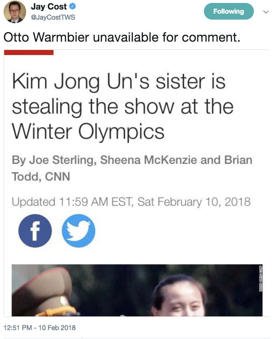 """Otto Warmbier unavailable for comment."" Screenshot/Twitter"