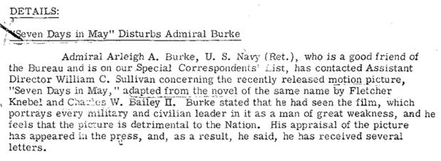 Admiral Arliegh Burke asjes FBI to look into Stanley Kubrick