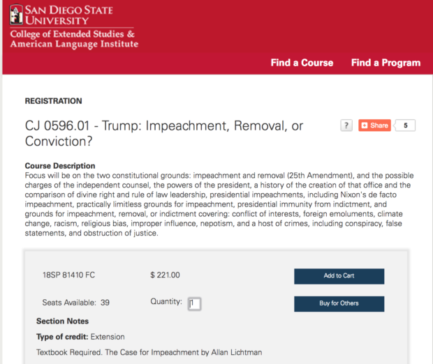 Screen Shot/San Diego State University/Course Description