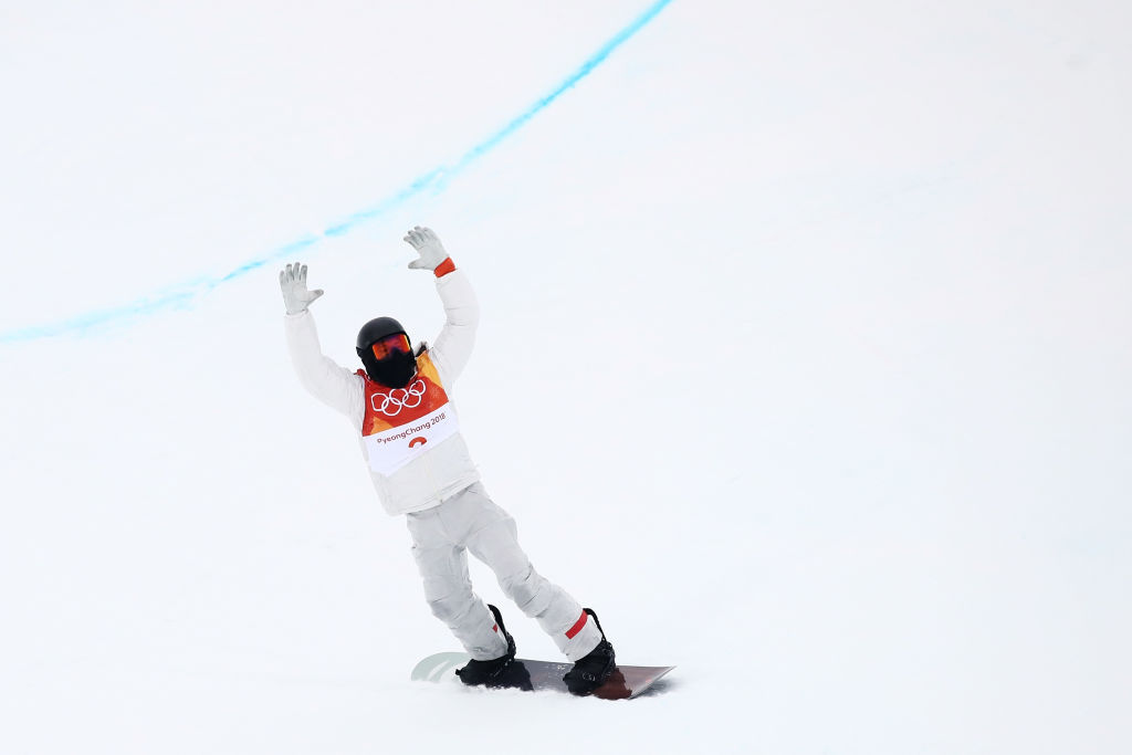 PYEONGCHANG-GUN, SOUTH KOREA - FEBRUARY 14: Shaun White of the United States celebrates after his first run during the Snowboard Men's Halfpipe Final on day five of the PyeongChang 2018 Winter Olympics at Phoenix Snow Park on February 14, 2018 in Pyeongchang-gun, South Korea. (Photo by Cameron Spencer/Getty Images)
