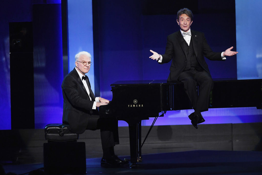 Actors Steve Martin (L) and Martin Short perform onstage during American Film Institute's 45th Life Achievement Award Gala Tribute to Diane Keaton at Dolby Theatre on June 8, 2017 in Hollywood, California. 26658_007 (Photo by Kevin Winter/Getty Images)