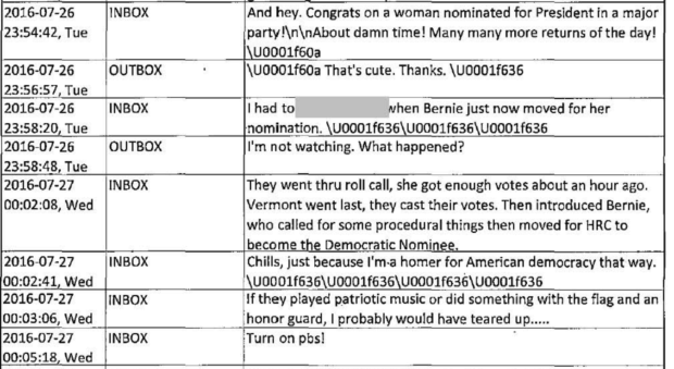 Strzok-Page texts during the 2016 Democratic National Convention. (Screenshot)