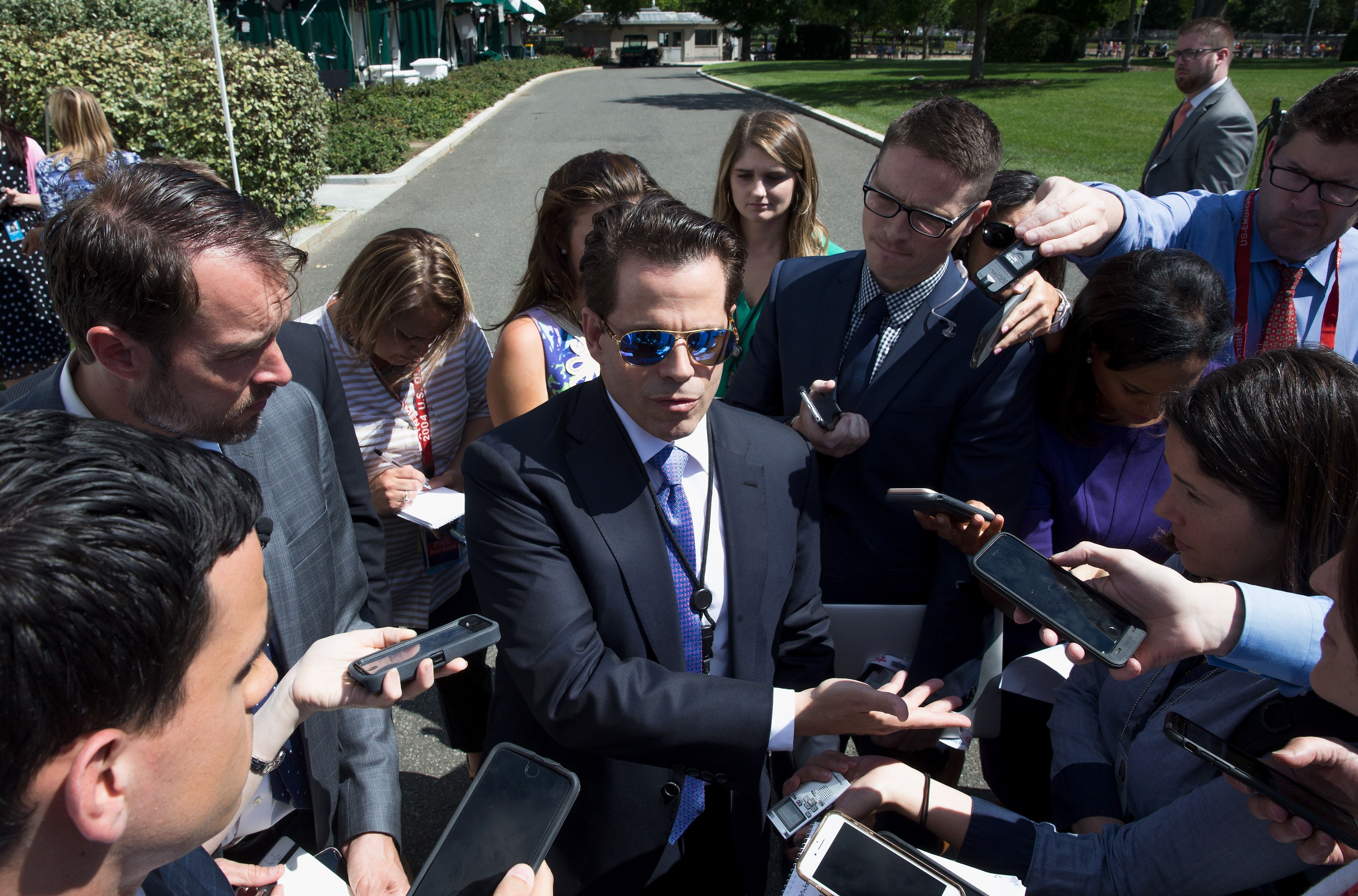 White House Communications Director Anthony Scaramucci talks with the media outside the White House in Washington, DC on July 25, 2017 (TASOS KATOPODIS/AFP/Getty Images)