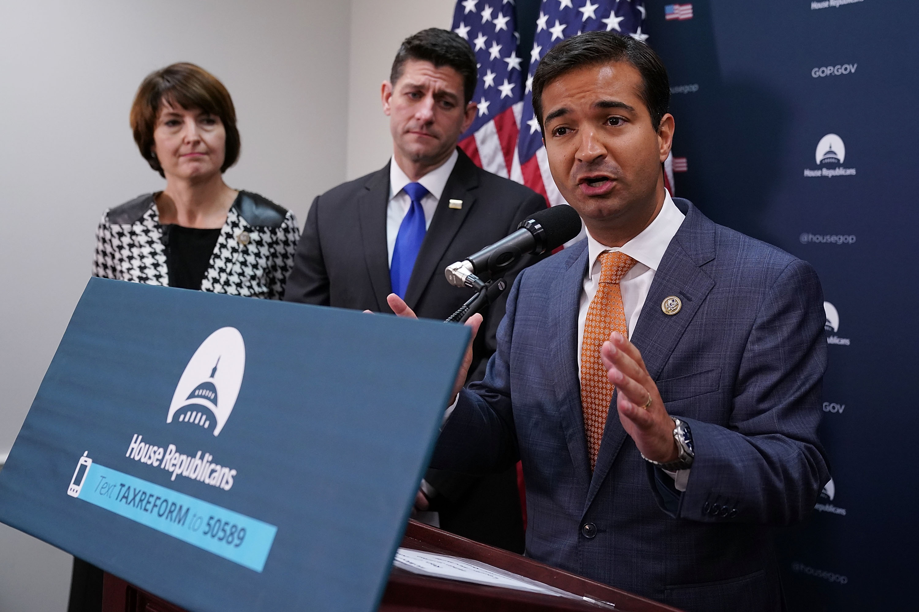 WASHINGTON, DC - OCTOBER 24: Rep. Carlos Curbelo (R-FL) (R) talks with reporters with Speaker of the House Paul Ryan (R-WI) and Rep. Cathy McMorris Rogers (R-WA) following the weekly House Republican Conference meeting at the U.S. Capitol October 24, 2017 in Washington, DC. Ryan and the GOP leadership said that tax cuts and reforms are their priority and they hope to get legislation out of the House by the Thanksgiving holiday. (Photo by Chip Somodevilla/Getty Images)