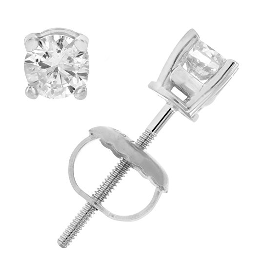 Normally $250, these 14k white gold diamond earrings are 58 percent off today (Photo via Amazon)
