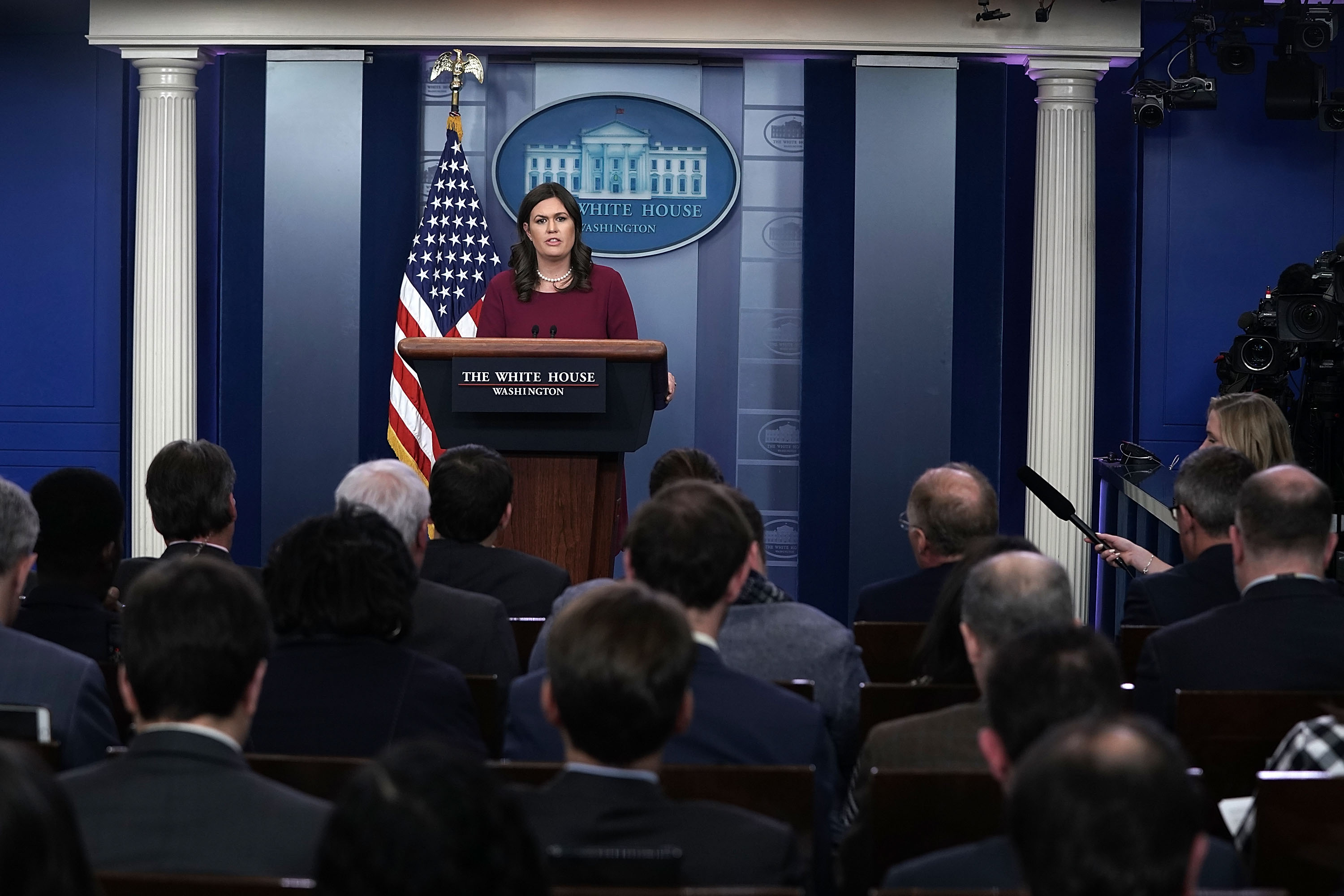 WASHINGTON, DC - FEBRUARY 13: White House Press Secretary Sarah Huckabee Sanders conducts a daily news briefing at the James Brady Press Briefing Room of the White House February 13, 2018 in Washington, DC. Sanders held her daily briefing to fill questions from members of the White House Press Corps. (Photo by Alex Wong/Getty Images)