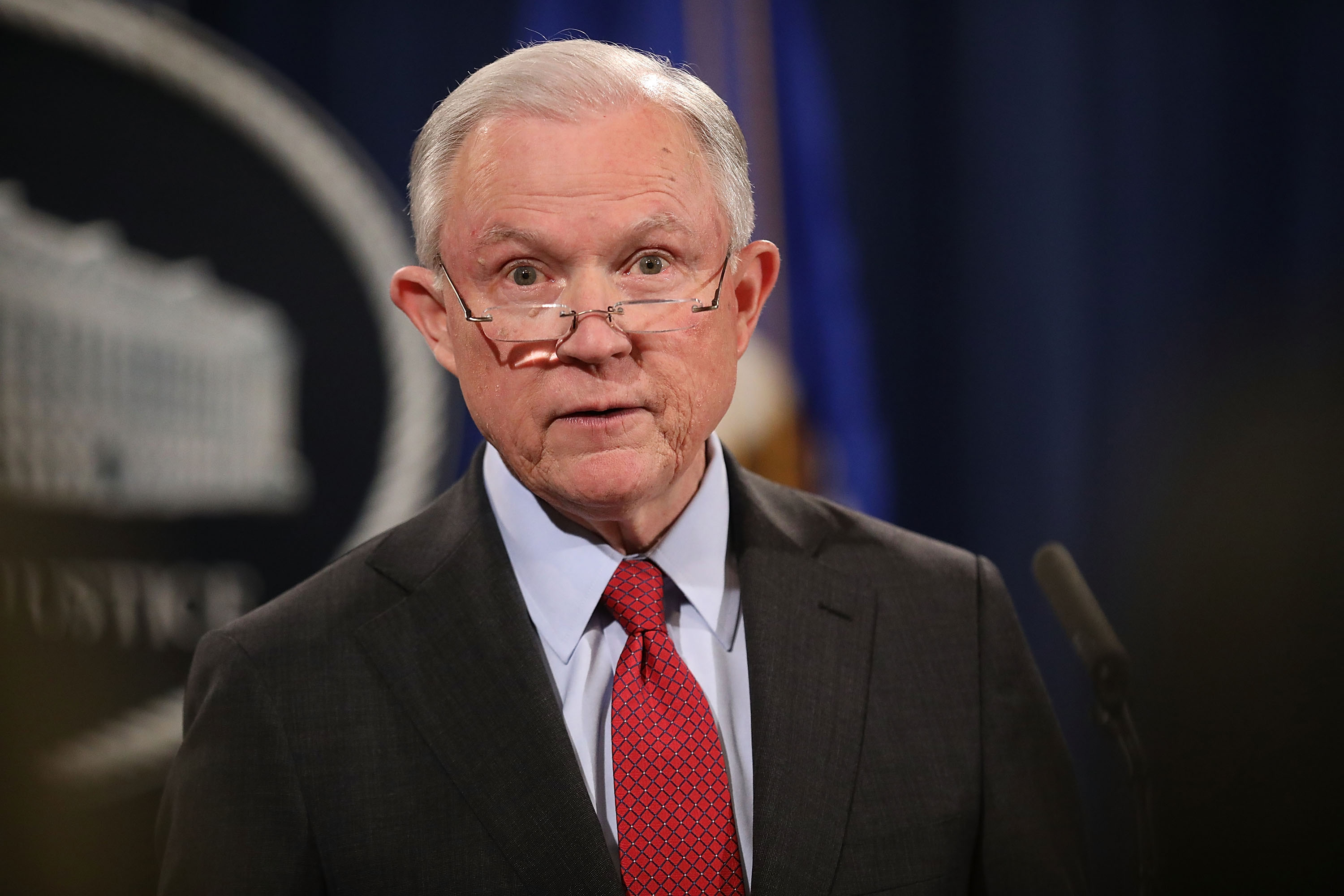 WASHINGTON, DC - DECEMBER 15: U.S. Attorney General Jeff Sessions holds a news conference at the Department of Justice on December 15, 2017 in Washington, DC. Sessions called the question-and-answer session with reporters to highlight his department's fight to reduce violent crime. (Photo by Chip Somodevilla/Getty Images)