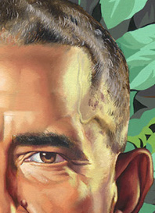 Close-up of Obama's vein in his official portrait. (Kehinde Wiley)
