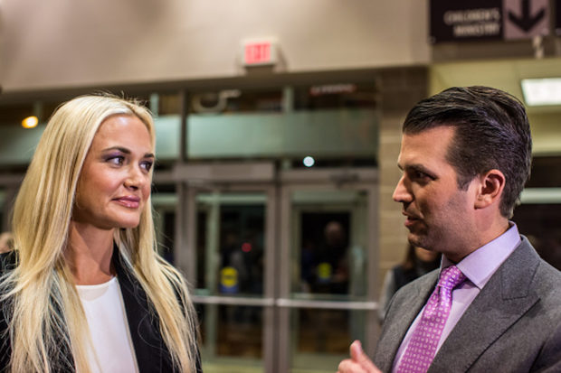 WEST DES MOINES, IA - FEBRUARY 1: Donald Trump Jr. (R) and his wife Vanessa Trump greet Republican caucus-goers in precinct 317 at Valley Church ahead of the party caucus on February 1, 2016 in West Des Moines, Iowa. The Democratic and Republican Iowa Caucuses, the first step in nominating a presidential candidate from each party, take place today. (Photo by Brendan Hoffman/Getty Images)