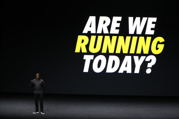 SAN FRANCISCO, CA - SEPTEMBER 07: Nike President Trevor Edwards speaks on stage during an Apple launch event on September 7, 2016 in San Francisco, California. Apple Inc. unveiled the latest iterations of its smart phone, the iPhone 7 and 7 Plus, the Apple Watch Series 2, as well as AirPods, the tech giant's first wireless headphones. (Photo by Stephen Lam/Getty Images)