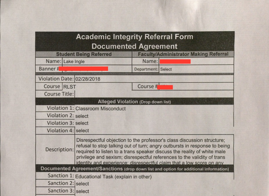Academic Integrity Referral Form (Courtesy of Lake Ingle)