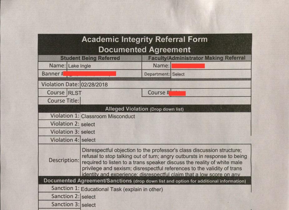 Academic Integrity Referral Form (Courtesy of Lake Ingle)