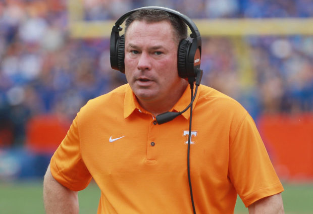 GAINESVILLE, FL - SEPTEMBER 16: Head Coach Butch Jones of the Tennessee Volunteers is seen on the sidelines during the second half of their game against the Florida Gators at Ben Hill Griffin Stadium on September 16, 2017 in Gainesville, Florida. (Photo by Scott Halleran/Getty Images)