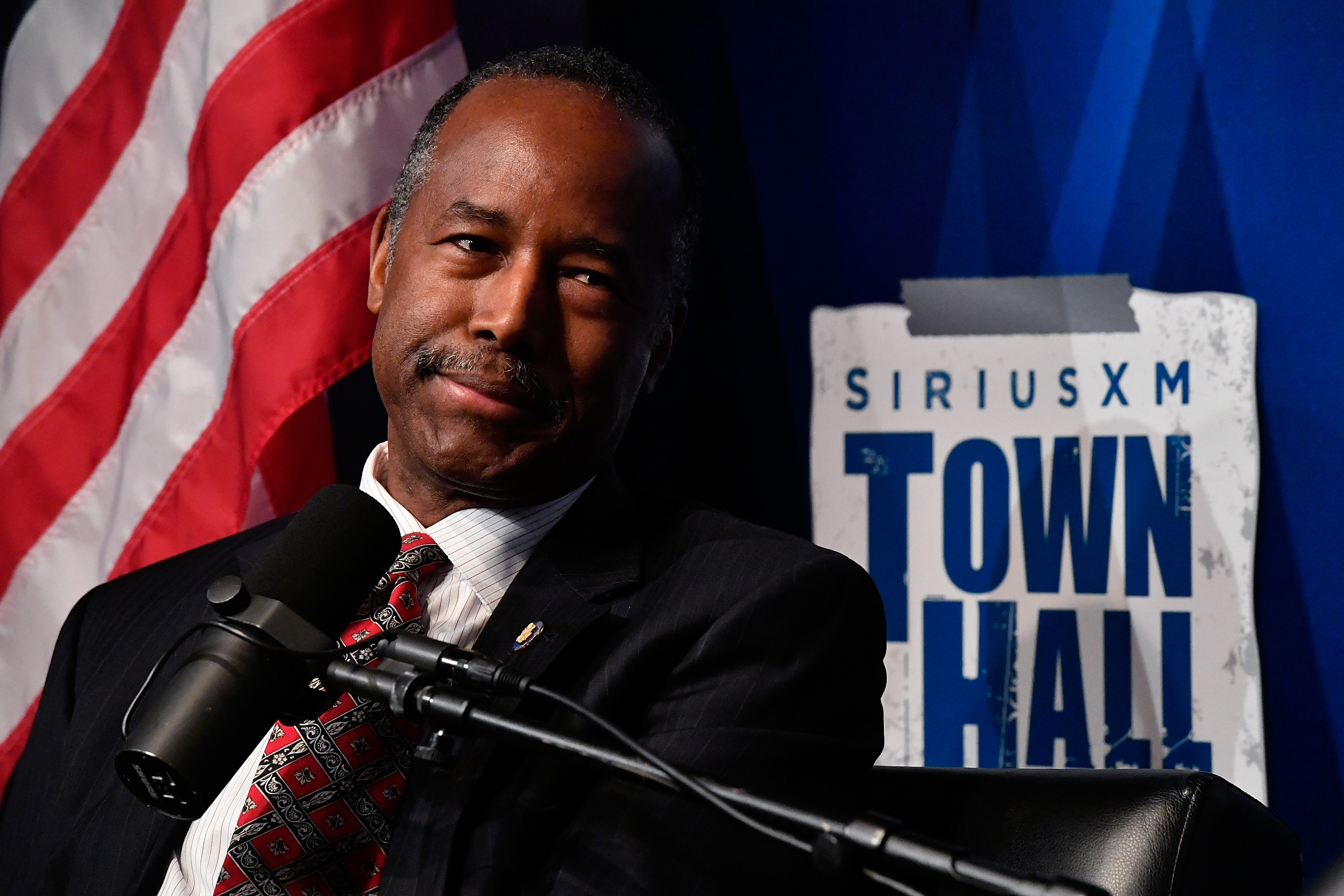 WASHINGTON, DC - MAY 23: United States Secretary of Housing and Urban Development Dr. Ben Carson appears on SiriusXM's Town Hall hosted by Armstrong Williams at SiriusXM DC Performance Space on May 23, 2017 in Washington, DC. (Photo by Larry French/Getty Images for SiriusXM)