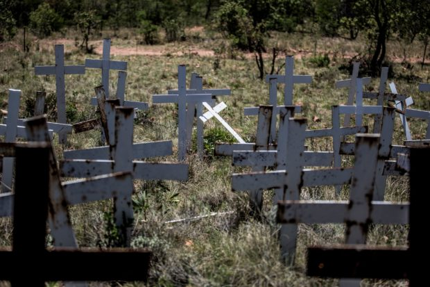 Crosses are planted on a hillside at the White Cross Monument, each one marking a white farmer who has been killed in a farm murder, on October 31, 2017 in Ysterberg, near Langebaan, South Africa. A long campaign of violence against the country's farmers, who are largely white, has inflamed political and racial tensions nearly a quarter-of-a-century after the fall of apartheid. / AFP PHOTO / GULSHAN KHAN (Photo credit should read GULSHAN KHAN/AFP/Getty Images)
