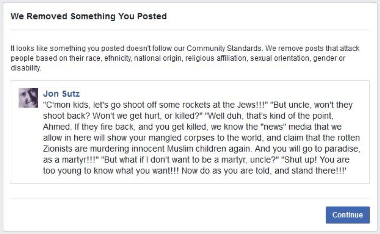 Pictured is the post for which Facebook suspended blogger Jon Sutz. (Photo Credit: Jon Sutz)
