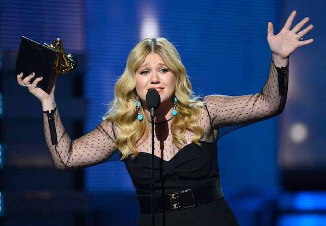 """LOS ANGELES, CA - FEBRUARY 10: Singer Kelly Clarkson accepts Best Pop Vocal Album award for """"Stronger"""" onstage at the 55th Annual GRAMMY Awards at Staples Center on February 10, 2013 in Los Angeles, California. (Photo by Kevork Djansezian/Getty Images)"""