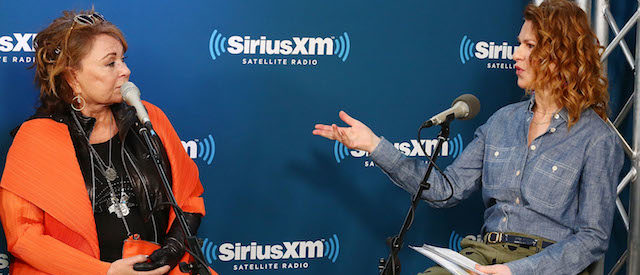 NEW YORK, NY - MARCH 27: (L-R) Actress Roseanne Barr speaks with SiriusXM host Sandra Bernhard during SiriusXM's Town Hall with the cast of Roseanne on March 27, 2018 in New York City. (Photo by Astrid Stawiarz/Getty Images for SiriusXM)