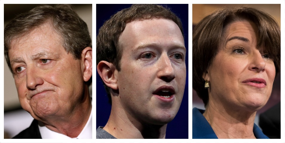 John Kennedy, Mark Zuckerberg, Amy Klobuchar (Getty Images)