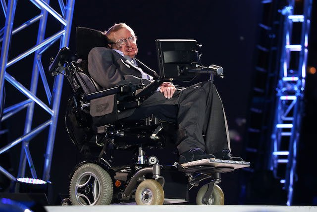 Professor Stephen Hawking speaks during the Opening Ceremony of the London 2012 Paralympics at the Olympic Stadium on August 29, 2012 in London. (Photo by Dan Kitwood/Getty Images)