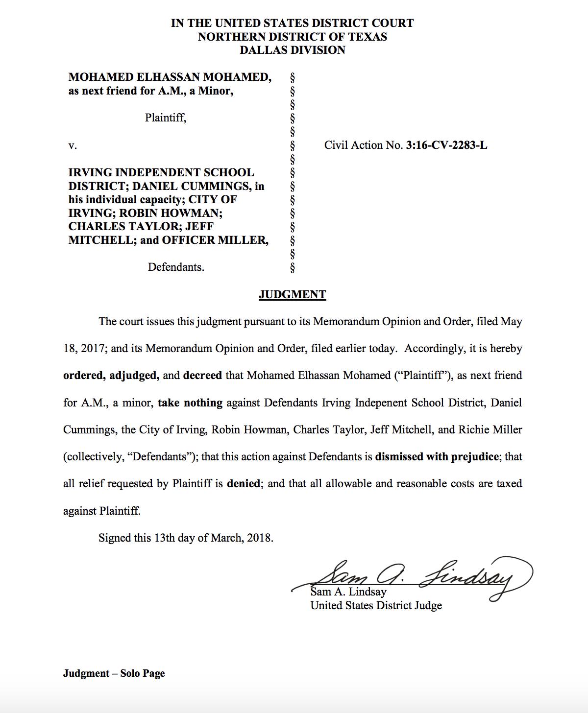 The complaint dismissing Clock Boy's lawsuit against Irving ISD. (Screenshot)