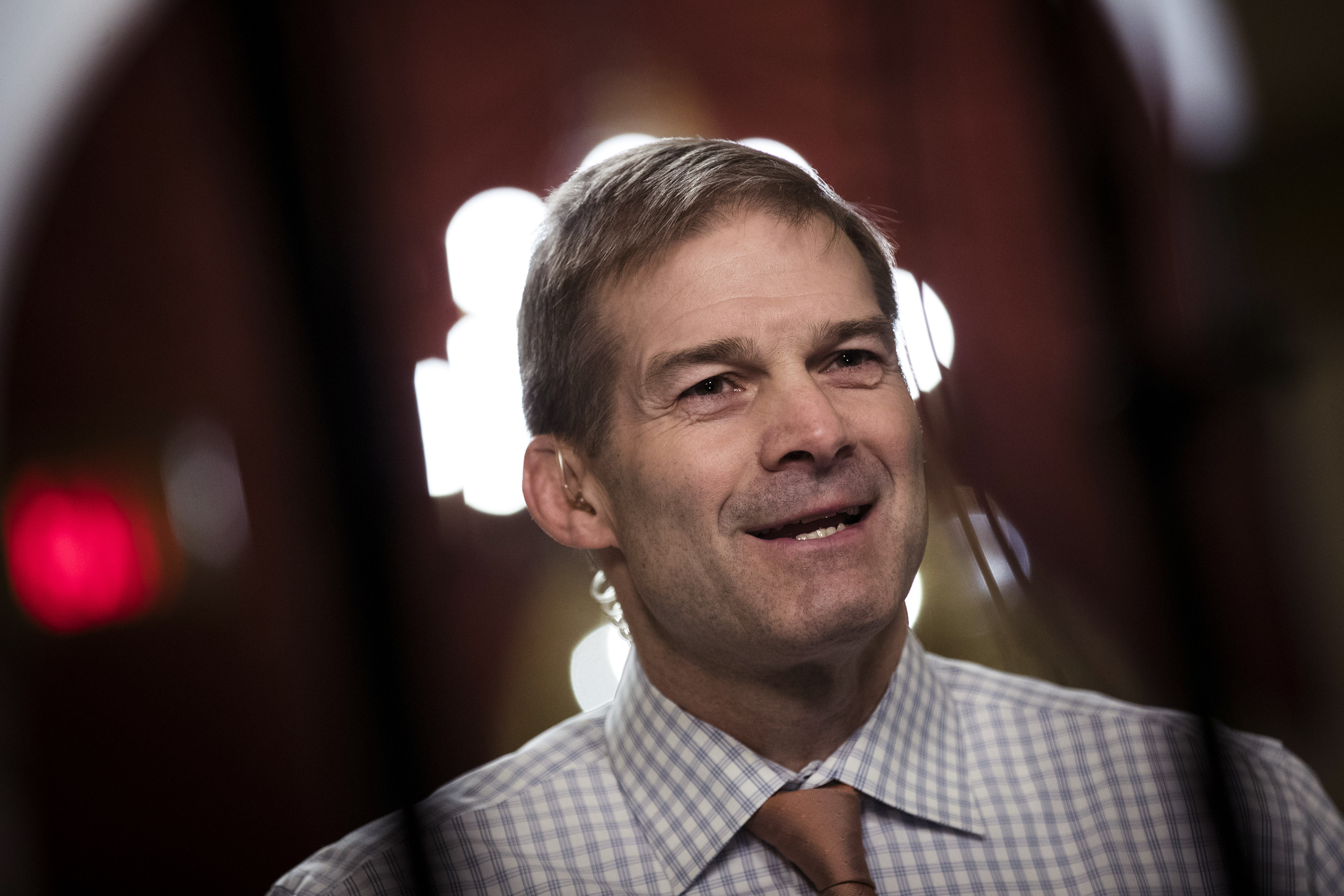 WASHINGTON, DC - DECEMBER 4: House Freedom Caucus member Rep. Jim Jordan (R-OH) speaks during a live television broadcast on Capitol Hill, December 4, 2017 in Washington, DC. The House voted to formally send their tax reform bill to a joint conference committee with the Senate, where they will try to merge the two bills. (Drew Angerer/Getty Images)