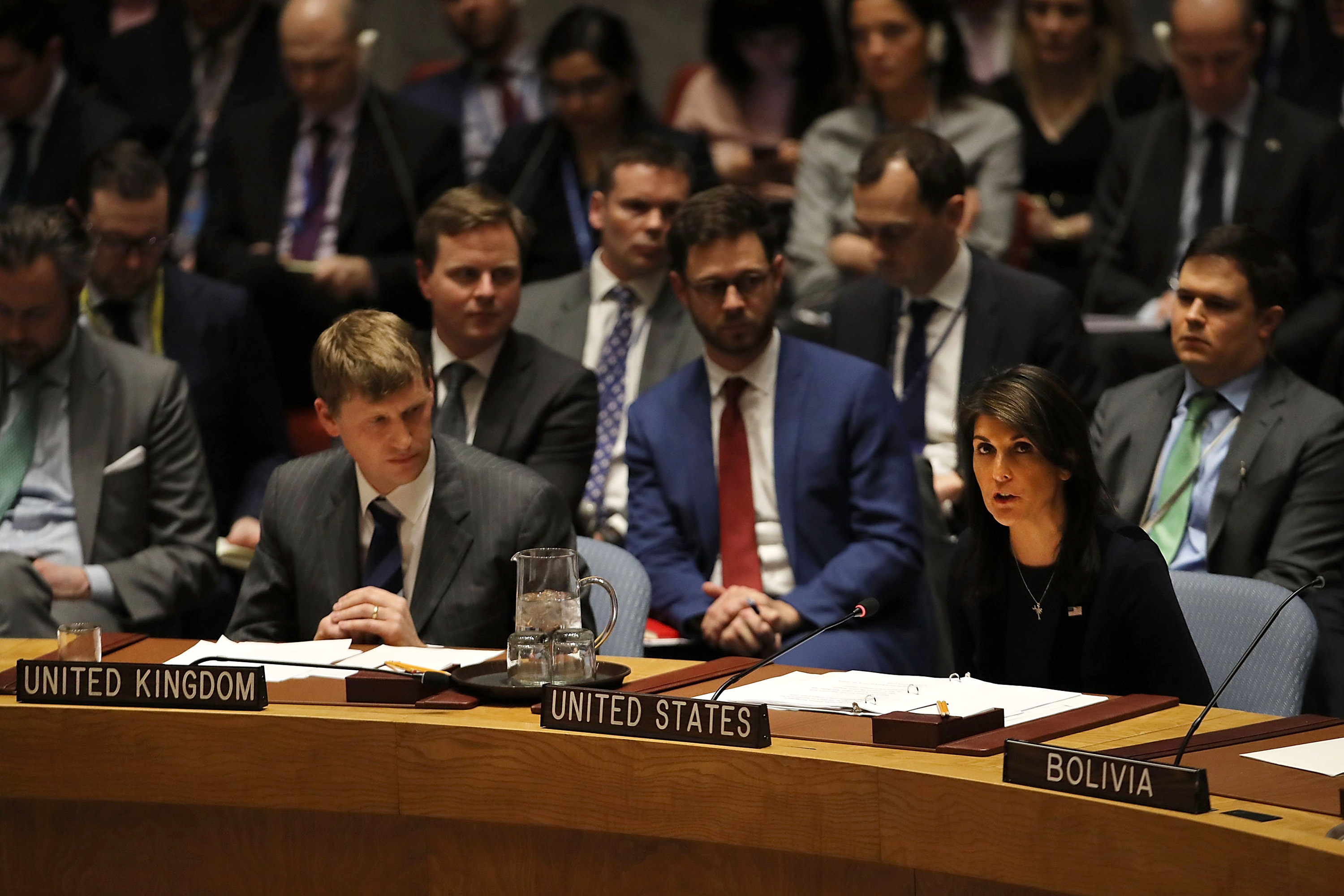 NEW YORK, NY - MARCH 14: United States Ambassador to the United Nations, Nikki Haley, speaks at the security council after the United Kingdom called for an urgent meeting of the UN security council to update council members on the investigation into the recent nerve agent attack in Salisbury, United Kingdom on March 14, 2018 in New York City. UK Prime Minister Theresa May is preparing to set out a range of reprisals against the Russian, who many believe is behind the attack on former spy Sergei Skripal, 66, and his daughter, Yulia Skripal, 33. (Photo by Spencer Platt/Getty Images)