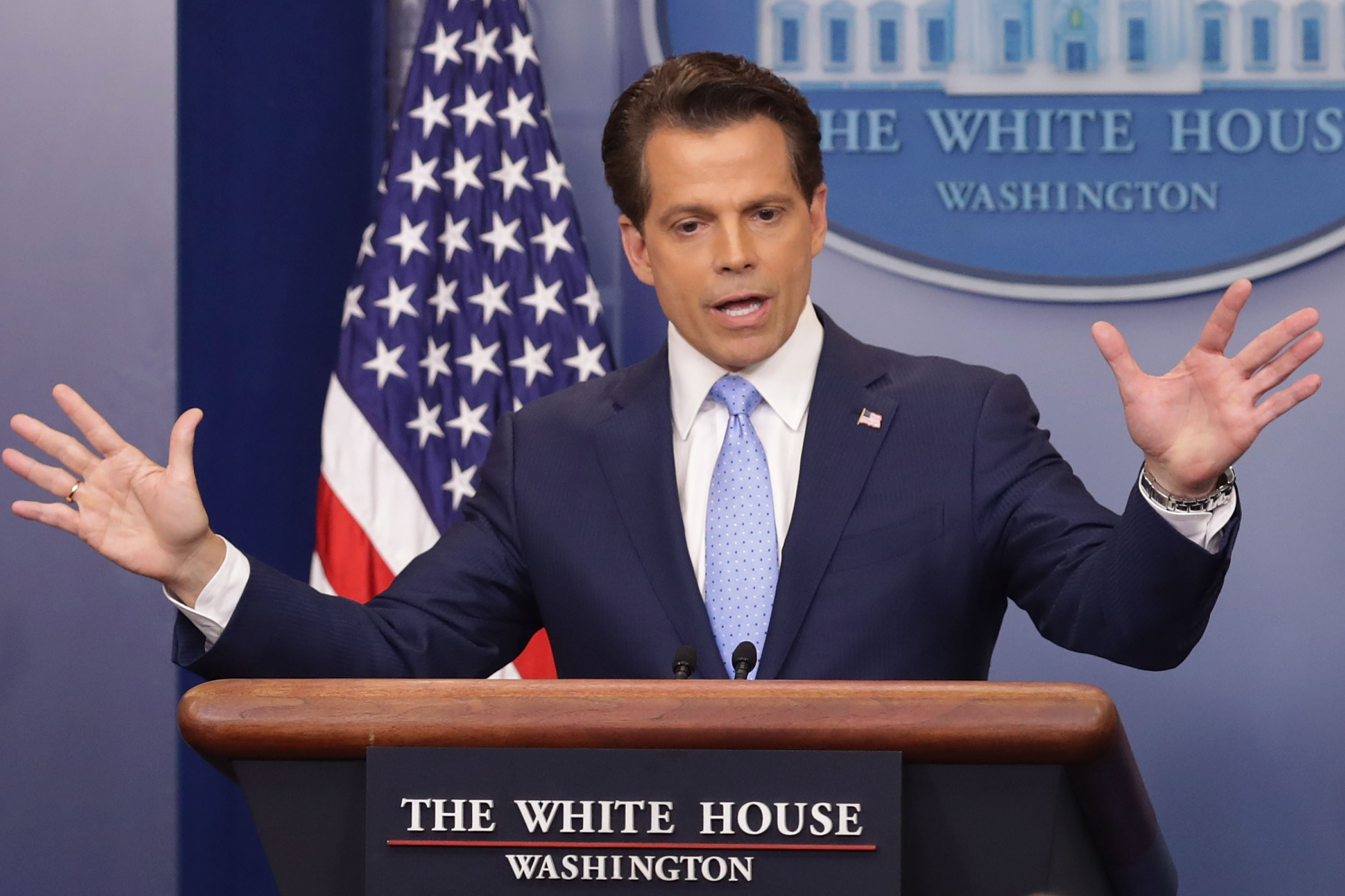 WASHINGTON, DC - JULY 21: Anthony Scaramucci answers reporters' questions during the daily White House press briefing in the Brady Press Briefing Room at the White House July 21, 2017 in Washington, DC. White House Press Secretary Sean Spicer quit after it was announced that Trump hired Scaramucci, a Wall Street financier and longtime supporter, to the position of White House communications director. (Photo by Chip Somodevilla/Getty Images)
