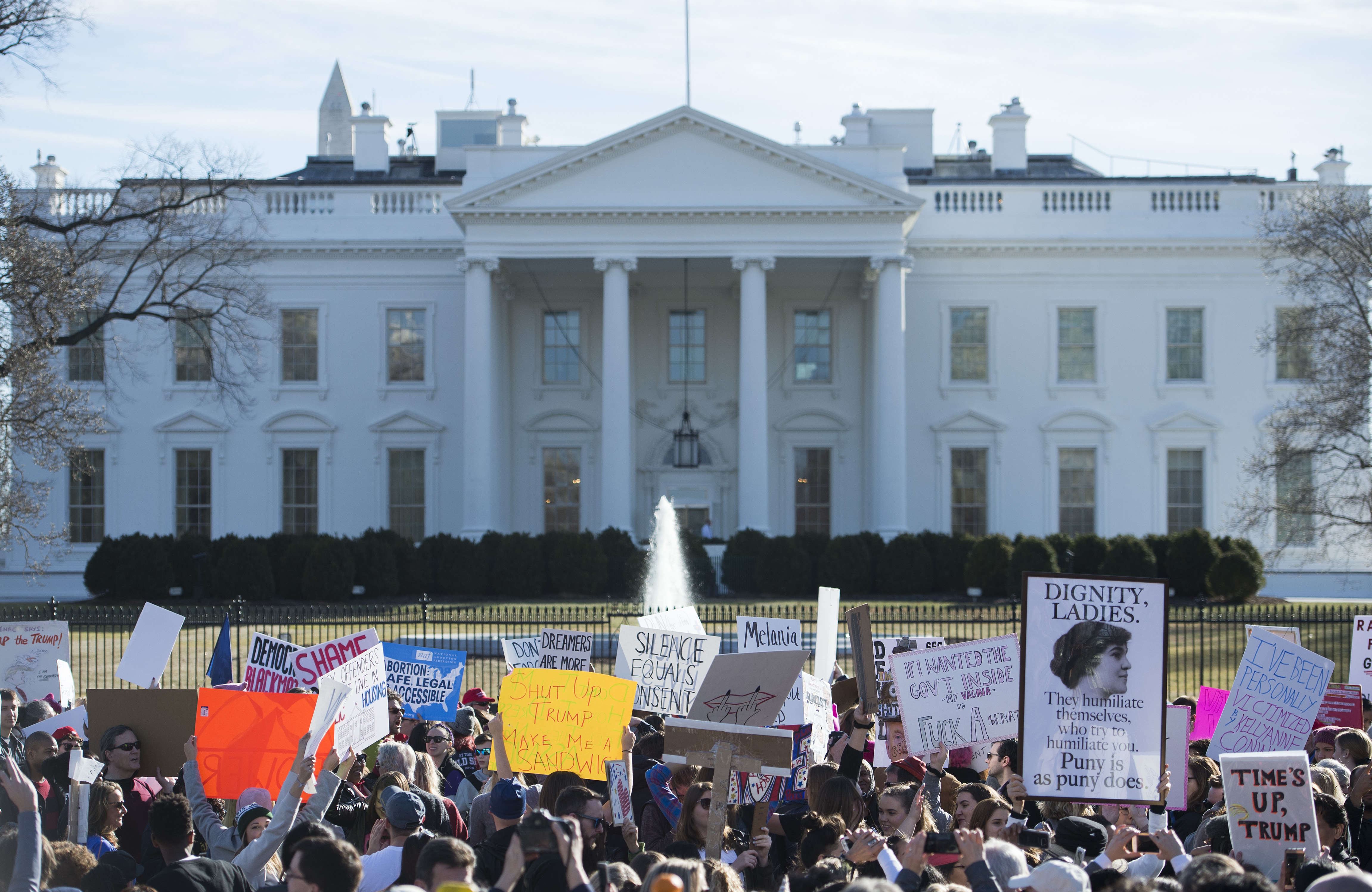 Protesters hold up a sign near the White House following the Women's March on Washington 2018: March On The Polls! on the National Mall on January 20, 2018 in Washington DC (ANDREW CABALLERO-REYNOLDS/AFP/Getty Images)