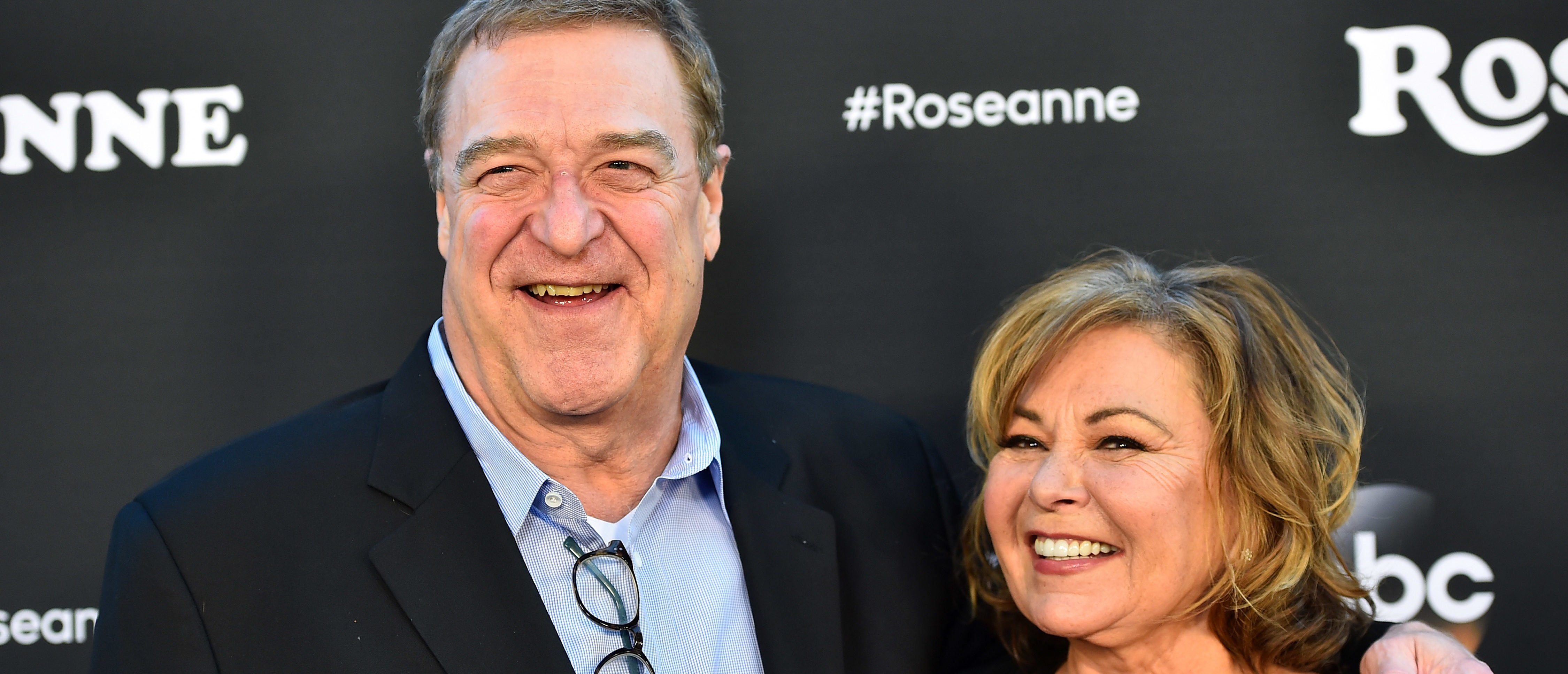"""BURBANK, CA - MARCH 23: John Goodman and Roseanne Barr attend the premiere of ABC's """"Roseanne"""" at Walt Disney Studio Lot on March 23, 2018 in Burbank, California. (Photo by Alberto E. Rodriguez/Getty Images)"""