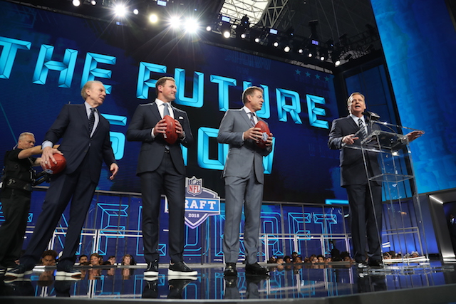 Apr 26, 2018; Arlington, TX, USA; NFL commissioner Roger Goodell starts the 2018 Draft with (from left) Roger Staubach Jason Witten and Troy Aikman to start the first round of the 2018 NFL Draft at AT&T Stadium. Mandatory Credit: Matthew Emmons-USA TODAY Sports - 10806257